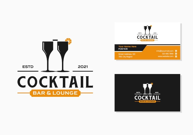 Two glass and bottle, cocktail bar and lounge sign logo and business card design template