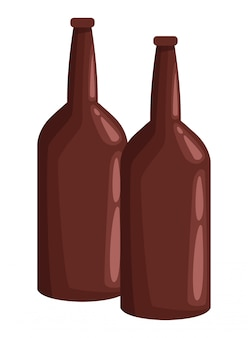 Two glass bottle icon cartoon