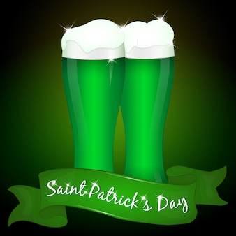 Two glasses of green beer for saint patrick's day