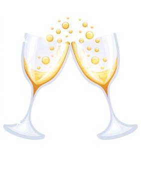 シャンパンを2杯。メリークリスマスと新年あけましておめでとうございますのコンセプトです。白い背景のwebサイトページとモバイルアプリの図
