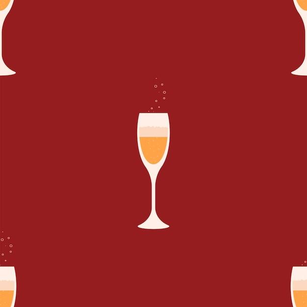 Два бокала шампанского на красном фоне l. рождественский и новогодний дизайн. векторная иллюстрация.