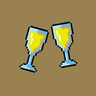Два бокала тоста в стиле пиксель-арт