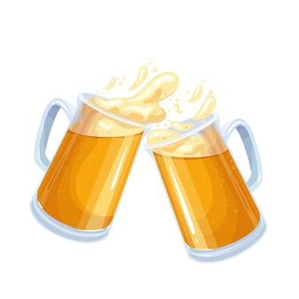 Two glasses toasting mugs with beer, cheers beer glasses. traditional drink of beer festival oktoberfest. glasses full with blond beer with beer foam. vector illustration in cartoon style.
