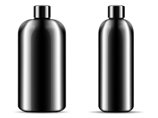 Two glossy black glass or plastic bottles set