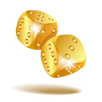 Two golden falling dice isolated on white