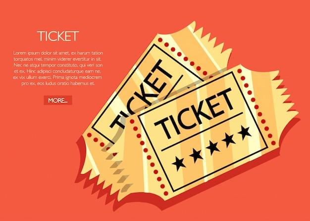 Two golden retro cinema tickets. cinema concept.  cinema illustration.  illustration on red background
