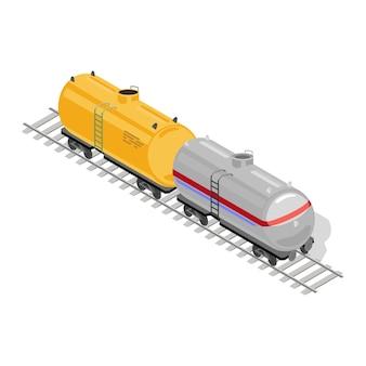 두 개의 상품 또는화물 마차 노란색과 회색이 철도 트랙에 있습니다.