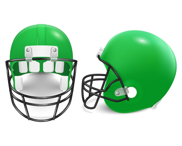 Two green football helmets - front and side view.