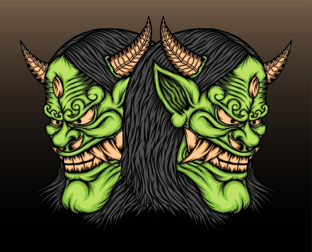 2つの緑の般若マスクのイラスト。