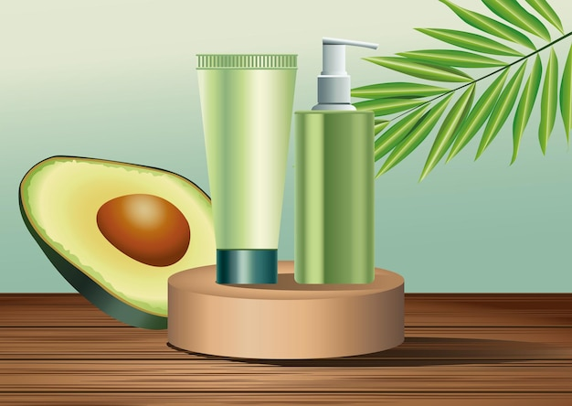 Two green skin care bottle and tube products in golden stage with avocado  illustration