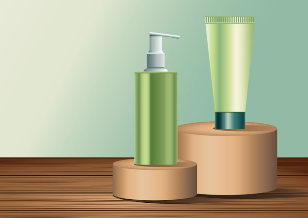 Two green skin care bottle and tube products in golden stages  illustration