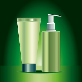 Two green skin care bottle and tube products icons  illustration