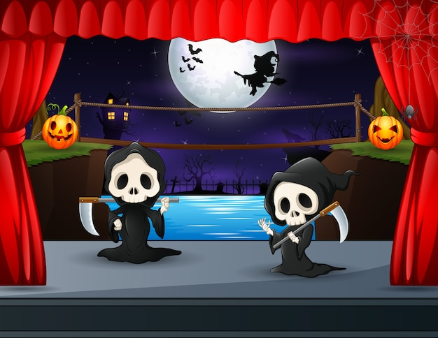 Two grim reaper performing on stage