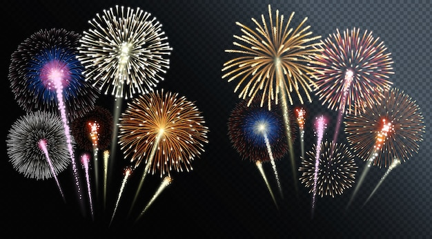 Two groups of isolated fireworks.