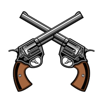Two gun revolver cross logo vector illustration