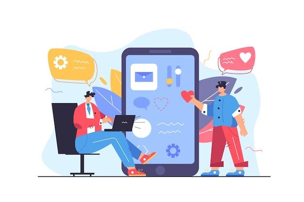 Два программиста настраивают пользовательский интерфейс на большом экране плоской иллюстрации мобильного телефона, изолированной на белом фоне