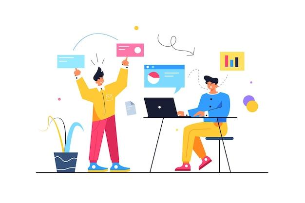 Два парня запускают процессы, парень перемещает виртуальные экраны, парень сидит за ноутбуком, изолированный на белом фоне, плоская иллюстрация