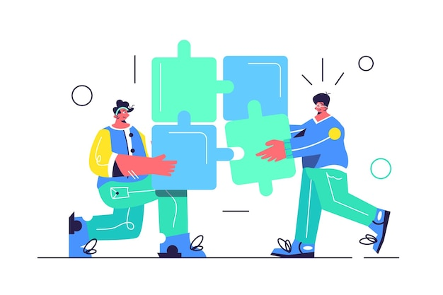 Два парня собирают логические головоломки, работа в команде, изолированные на белом фоне