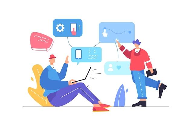 Два парня настраивают логику приложения с помощью виртуальных дисплеев, парень сидит за ноутбуком на белом фоне, плоская иллюстрация