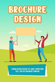 Two guys holding empty placard and smiling. protest, opinion, picket flat vector illustration