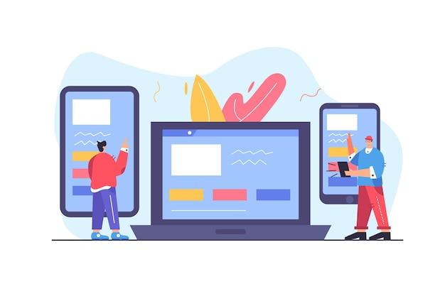 두 사람은 반응 형 웹 사이트 디자인, 대형 모바일 장치, 큰 노트북, 흰색 배경에 고립 된 전화가있는 사람, 평면 그림을 봅니다.