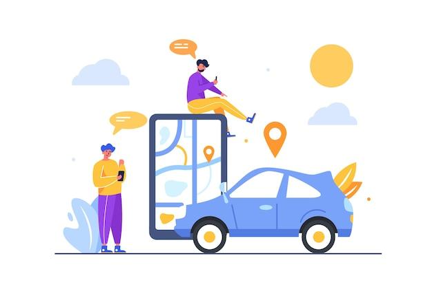 白い背景、フラットに分離された地図上の携帯電話を介して地理位置情報を使用して車の場所を探している2人の男