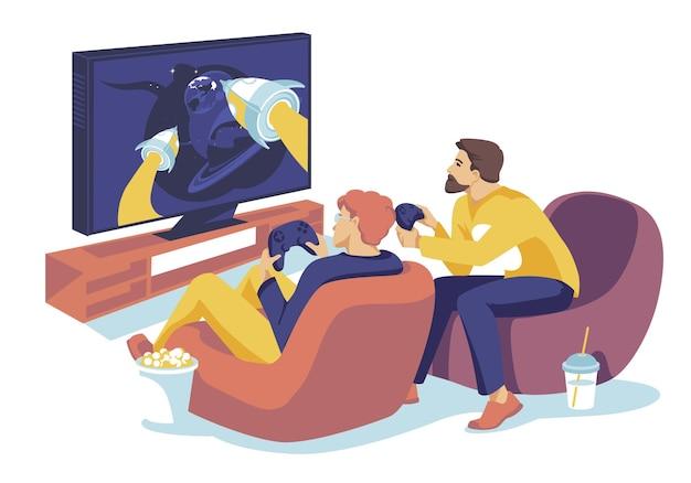 大きなモニターでコンピューターゲームで一緒に遊んでいる2人の男テクノロジージョスティックcolorfullフラット