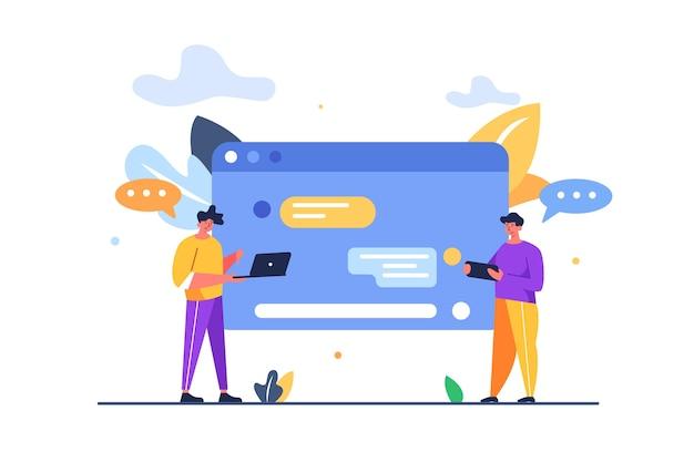 ソーシャルチャット、テキストメッセージ、白い背景で隔離の通知でモバイルガジェットを使用してテキストメッセージを送信する2人の男