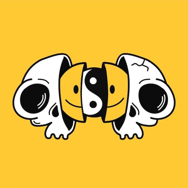 웃는 얼굴과 내부의 음양을 가진 두 개의 반쪽. 벡터 손으로 그린 낙서 90년대 스타일 만화 캐릭터 그림. trippy 웃는 얼굴, yin yang, 티셔츠, 포스터, 카드 컨셉을 위한 해골 프린트