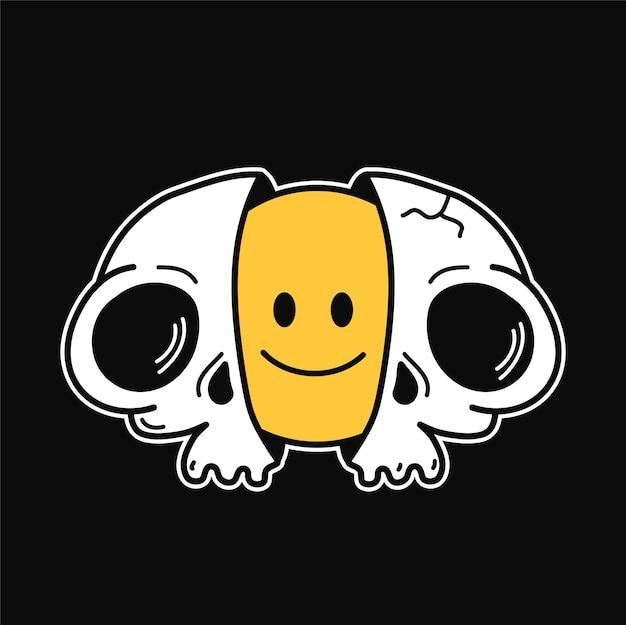 내부에 미소 얼굴을 가진 셸의 두 절반입니다. 벡터 손으로 그린 낙서 90년대 스타일 만화 캐릭터 그림. T-셔츠, 포스터, 카드 개념을 위한 Trippy 웃는 얼굴 해골 인쇄 프리미엄 벡터