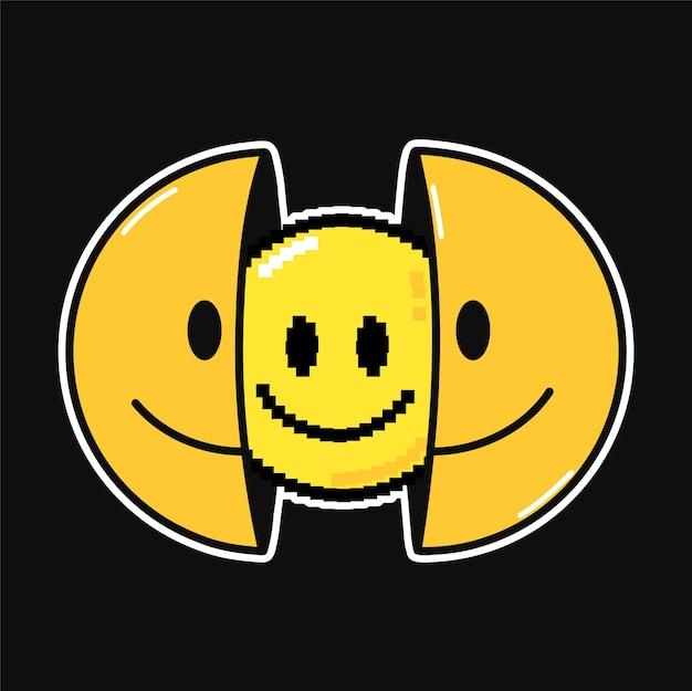8비트 픽셀 아트로 웃는 얼굴의 절반. 벡터 손으로 그린 낙서 만화 캐릭터 그림입니다. 웃는 얼굴, lsd, 티셔츠, 포스터, 카드 컨셉을 위한 픽셀 아트 인쇄