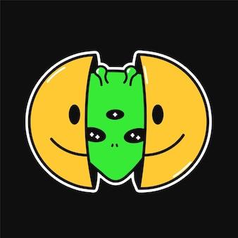 내부에 외계인 머리와 미소 얼굴의 두 절반. 벡터 손으로 그린 낙서 만화 캐릭터 그림입니다. 흰색 배경에 고립. 웃는 얼굴, 외계인 머리, 티셔츠, 포스터, 카드 컨셉을 위한 ufo 인쇄