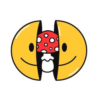 내부에 버섯이 있는 미소 얼굴의 두 절반. 벡터 손으로 그린 낙서 90년대 스타일 만화 캐릭터 그림. 흰색 배경에 고립. trippy 웃는 얼굴, 만두 버섯 개념