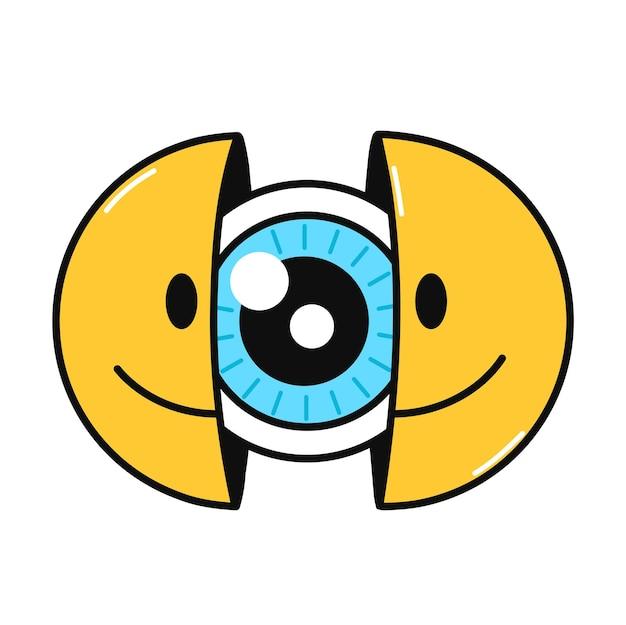 눈으로 웃는 얼굴의 두 절반입니다. 벡터 손으로 그린 낙서 만화 캐릭터 그림입니다. 흰색 배경에 고립. 웃는 얼굴, 눈, 티셔츠, 포스터, 카드 컨셉을 위한 안구 인쇄