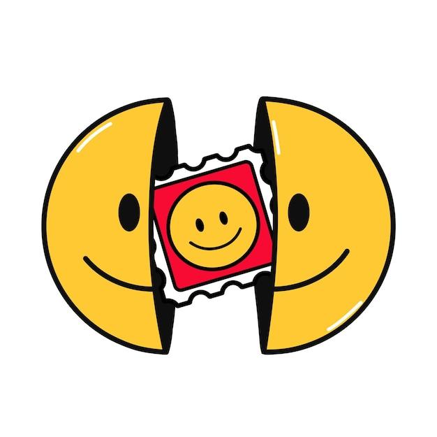 내부에 lsd 표시가 있는 미소 얼굴의 두 절반. 벡터 손으로 그린 낙서 만화 캐릭터 그림입니다. 흰색 배경에 고립. 웃는 얼굴, lsd, 티셔츠, 포스터, 카드 개념을 위한 산성 블로터 인쇄