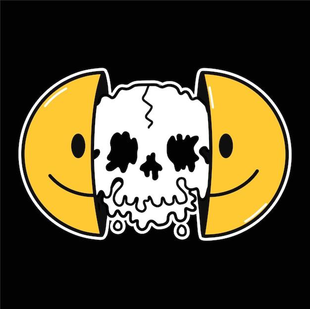 내부에 녹는 두개골과 함께 웃는 얼굴의 두 절반. 벡터 손으로 그린 낙서 만화 캐릭터 그림입니다. 웃는 이모티콘 얼굴, 머리에 플렉스 애시드 해골, 티셔츠, 포스터, 카드 컨셉을 위한 테크노 프린트