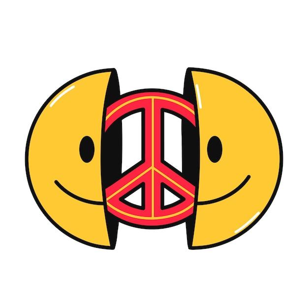 내부에 평화 기호로 미소 얼굴의 두 절반. 벡터 손으로 그린 낙서 만화 캐릭터 그림입니다. 흰색 배경에 고립. 웃는 얼굴, 티셔츠, 포스터, 카드 컨셉을 위한 히피 평화 사인 인쇄