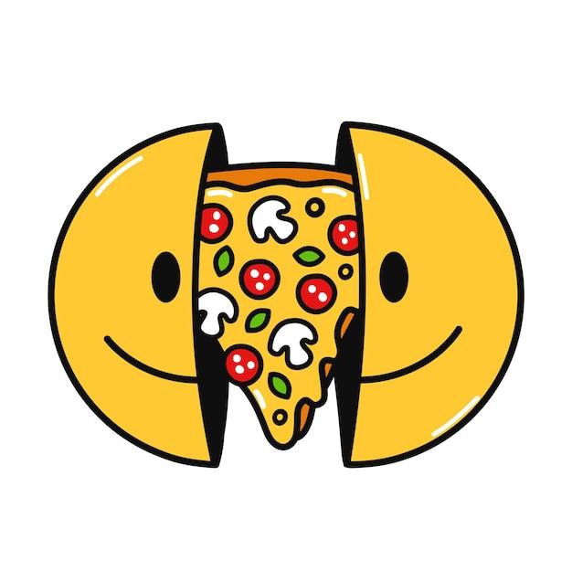 안에 피자와 함께 웃는 얼굴의 두 절반입니다. 벡터 손으로 그린 낙서 만화 캐릭터 그림입니다. 흰색 배경에 고립. 웃는 얼굴, 티셔츠, 포스터, 카드 컨셉을 위한 피자 조각 인쇄