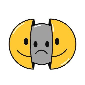 내부에 슬픈 얼굴로 웃는 얼굴의 두 절반.