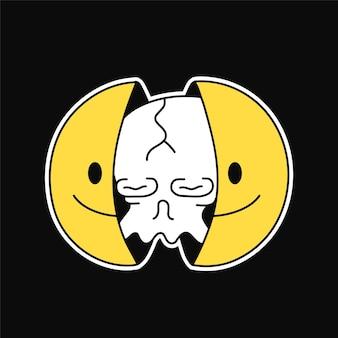 내부 두개골과 미소 얼굴의 두 절반입니다. 벡터 손으로 그린 낙서 만화 캐릭터 그림입니다. 웃는 얼굴, 티셔츠, 포스터, 카드 컨셉을 위한 머리 프린트의 해골