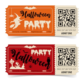Two halloween party tickets with witch, bat, zombie and halloween lettering.