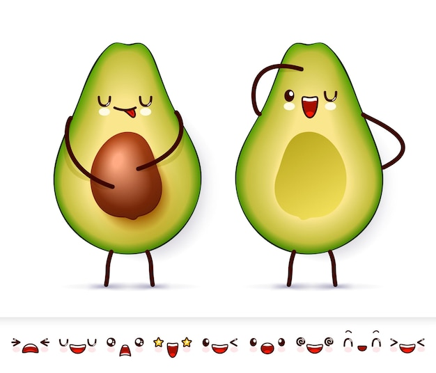 Two halve happy avocado with cute kawaii faces and collection of emoticon emoji.