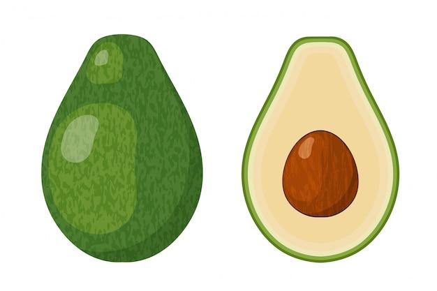 Two halves of ripe juicy avocado with a bone