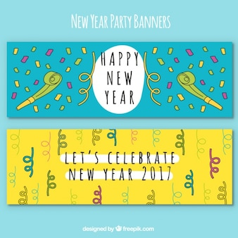 Two hand drawn banners for new year's party