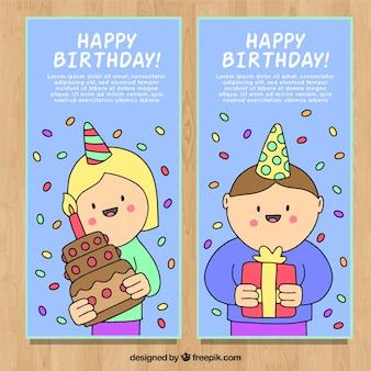 아이들과 함께 두 손으로 그린 생일 카드