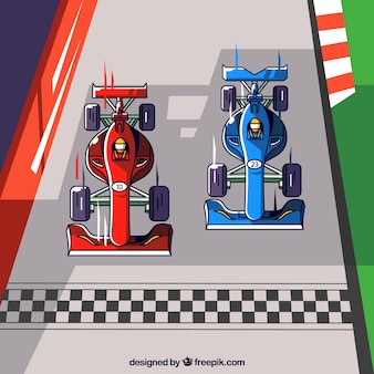 Two hand drawn f1 racing cars crossing finish line