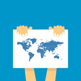 Two hand holds a table on which the blue map of the world is depicted.