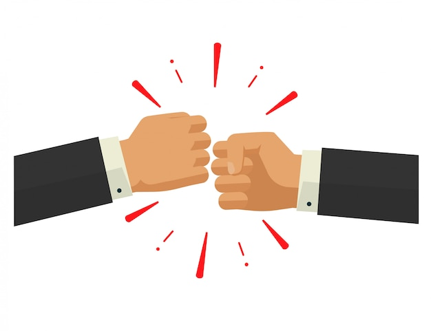 Two hands bumping or punching vector illustration in flat design