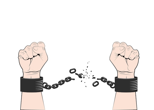 Two hands clenched into fist tearing chains or fetter. symbol of revolution and freedom. freedom concept.