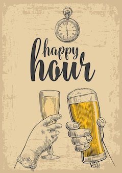 Two hands clink a glass of beer and a glass of champagne vintage vector engraved
